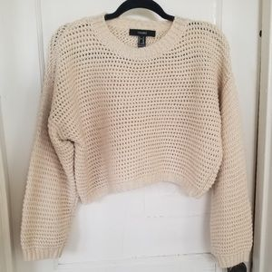 Forever 21 Cropped knit Wide Sleeve Sweater cream